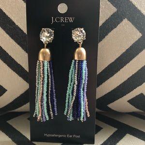 JCrew Multi Colored Beaded Tassel Earrings